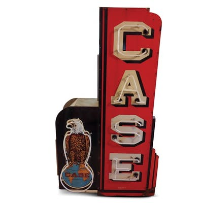 Case with Old Abe Logo Vertical Neon Porcelain Sign classic car