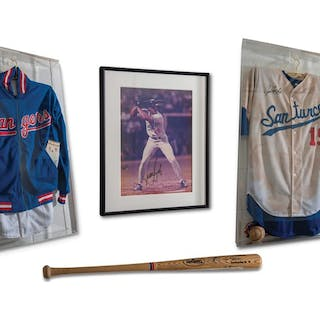 Juan González Autographed Jersey, Bat, and Photograph; Additional