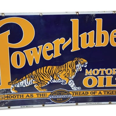 Power-lube Motor Oil with Logo Porcelain Sign classic car