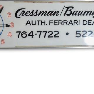 Cressman/Baumgarten Auth. Ferrari Dealer Maserati Clock Sign classic car