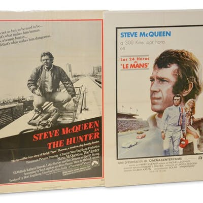 """Steve McQueen Movie Poster """"Le Mans"""" and """"The Hunter""""  classic car"""