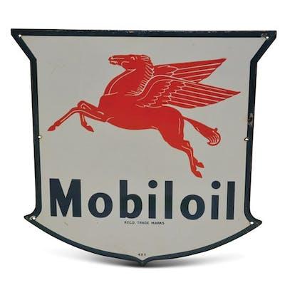 Mobiloil with Pegasus Porcelain Sign classic car