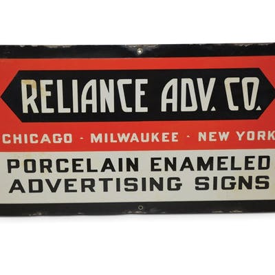 """""""Reliance Adv. Co. Porcelain Enameled Advertising Signs"""" classic car"""