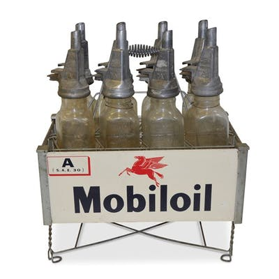 Mobiloil Fil-Pruf Motor Oil Bottles in Rack classic car