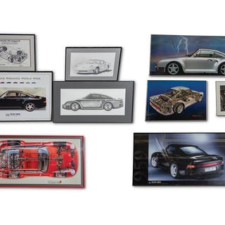 Porsche 959 Framed Posters, Print, and Drawing classic car