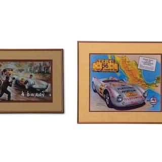 Porsche 550 Spyder Panamericana Road Race Framed Artwork classic car