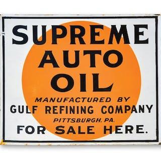 Supreme Auto Oil Gulf Refining Sign classic car – Current sales