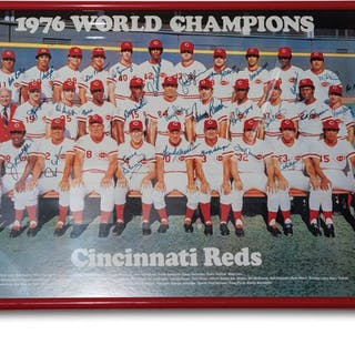 1976 World Champions Cincinnati Reds Autographed Framed Photograph classic car