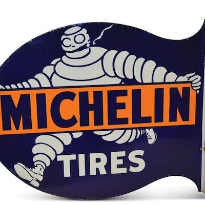 Michelin Tires with Smoking Bibendum Porcelain Flange Sign classic car