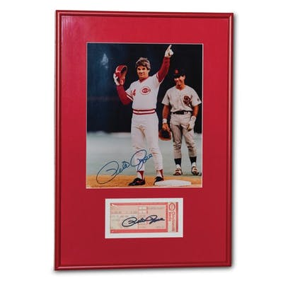 Pete Rose Autographed Photograph and Ticket Stub classic car
