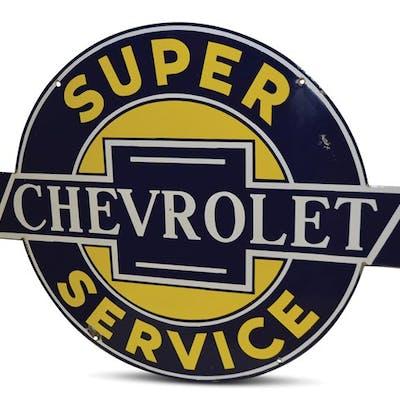 Super Chevrolet Service Rare Sized Porcelain Sign classic car