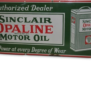 """""""Sinclair Opaline Motor Oil"""" with Can Porcelain Sign classic car"""