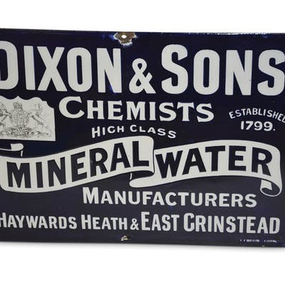 """Dixon & Sons Chemists High Class Mineral Water"" Porcelain Sign classic car"
