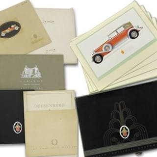 Collection of Fleetwood Car Brochures, including Duesenberg and Mercedes-Benz