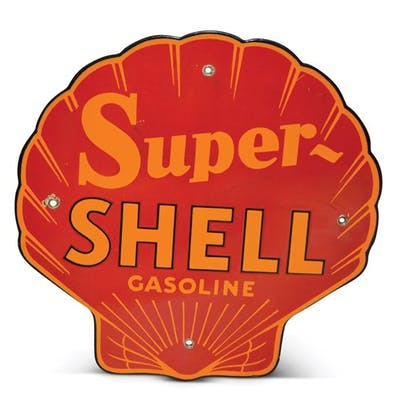 """Super-Shell Gasoline"" Porcelain Sign classic car"