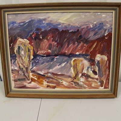 Oljemålning - landskapsmotiv, oidentifierad konstnär