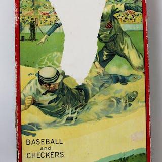 Circa 1915 Baseball and Checkers Two Game Combination Board Game Milton Bradley