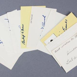 Baseball HOFer's Signed Index Cards (10) – Edd Roush etc. – COA JSA