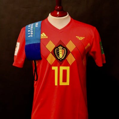 Eden Hazard Game-Used #10 Belgium Shirt & Armband. 2018 FIFA World