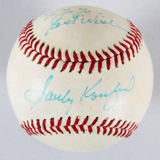 Sandy Koufax Signed Baseball Dodgers – COA JSA