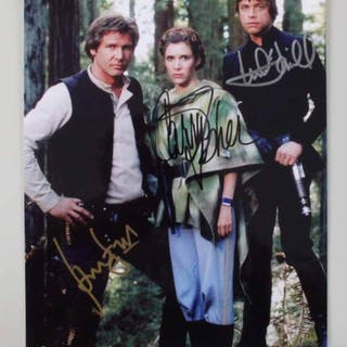 Star Wars Signed Photo Harrison Ford, Carrie Fisher, Mark Hamill Return