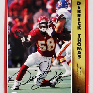 Derrick Thomas Signed Promo Card 8×10 Chiefs – COA JSA