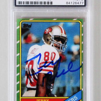 Jerry Rice Signed Rookie Card 49ers 1986 Topps #161 – COA PSA/DNA