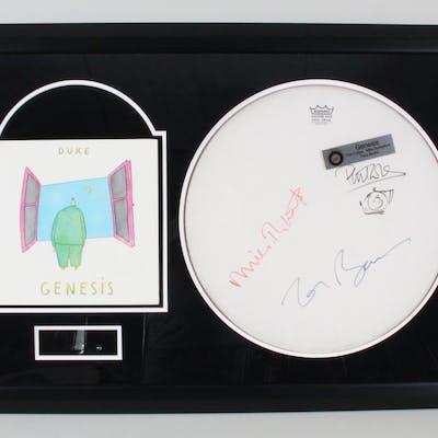 Genesis Band Signed Drumhead Framed – COA JSA