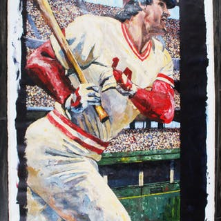Pete Rose Canvas Art Cincinnati Reds