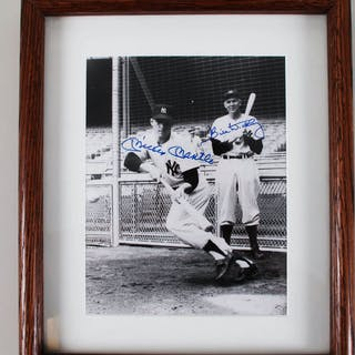 Mickey Mantle Signed Photo w/ Bill Dickey Yankees – COA JSA