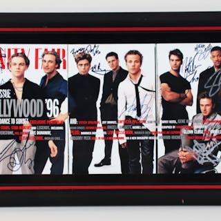 1996 Hollywood Actors Signed Magazine Page Display (10) Leonardo DiCaprio