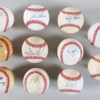 MLB Signed Baseball Lot (11) Jason Giambi, Carlton Fisk, etc. – COA JSA