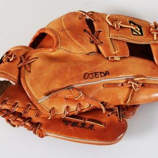1996 Augie Ojeda Worn Used Baseball Glove Signed w/Pants Olympics