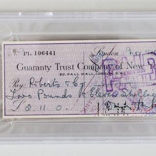 Douglas Fairbanks Sr. Signed Check – COA PSA/DNA (Copy)