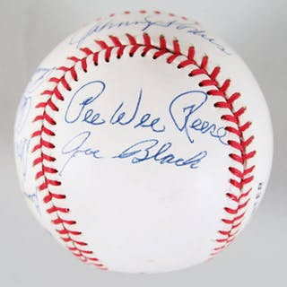 Dodger Stars & HOFers Signed Baseball (9) Pee Wee Reese, Don Newcombe