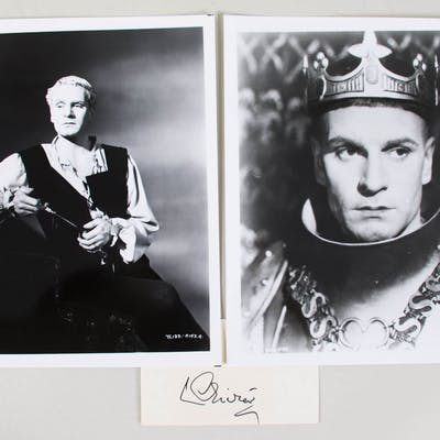 Laurence Olivier Signed Cut w/ Photo – COA JSA
