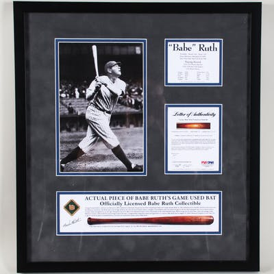 Babe Ruth Game-Used Baseball Bat Display Yankees