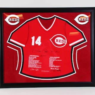 Pete Rose Signed Stat Jersey Framed Reds – COA JSA