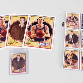 Jerry West Signed Card Lot Lakers (14) – COA JSA
