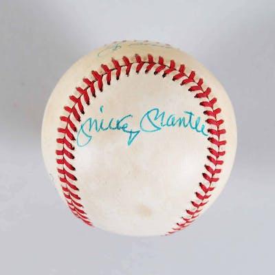 Mickey Mantle Signed Baseball w/ Yogi Berra & Whitey Ford – COA JSA