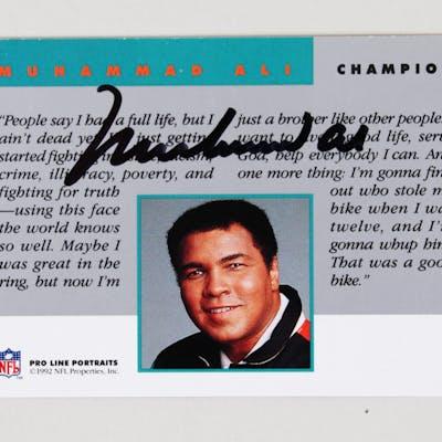 1992 Pro Line Portraits Muhammad Ali Signed Card – COA JSA