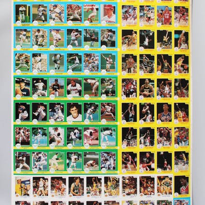 1984-86 Star Uncut Card Sheets Lot of (2) NBA & MLB Michael Jordan
