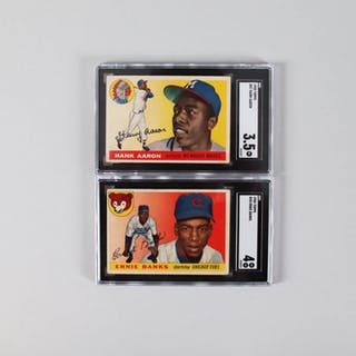 1955 Topps Hank Aaron & Ernie Banks Graded Cards – SGC