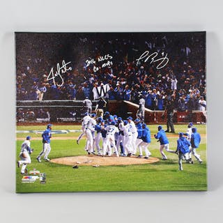 Javier Baez & Jon Lester Signed Canvas Art Chicago Cubs – COA MLB & Fanatics