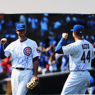 Kris Bryant & Anthony Rizzo Signed 16×20 Photo Chicago Cubs – COA BAS