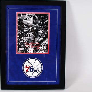 Julius Erving Signed 8×10 Display Philadelphia 76ers – COA Fanatics