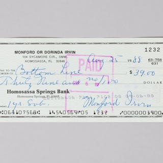Monte Irvin Signed Check Giants – COA PSA/DNA
