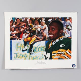 Robert Brooks Signed Lithograph Green Bay Packers – COA