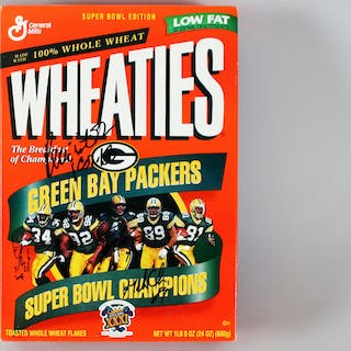 1996 Packers Signed Wheaties Box (4) Reggie White, Brett Favre, etc.