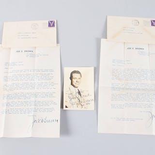 Joe E. Brown Signed Photo w/ Letters (2) – COA JSA
